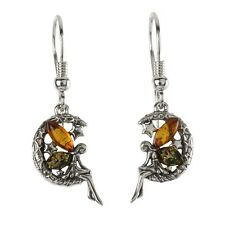 FAIRY MOON AND STARS BALTIC AMBER DROP EARRINGS STERLING SILVER