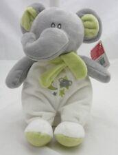 Artesavi peluche velours éléphant blanc et gris grelot 33 cm