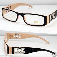DG Clear Lens Frames Glasses Fashion Nerd Womens Eyewear Designer Black Beige