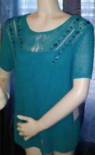NWT's Size Large Ruby Road Turquoise Short Sleeve Sweater Top with Camisole