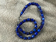 Blue Russian and Czech Glass Trade Bead Necklace, Gorgeous, Antique Beads!