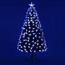 Pre-Lit Artificial Christmas Tree Xmas Decoration Blue & White Fibre Optic 6ft