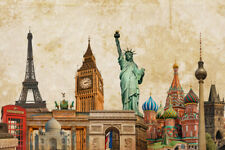 World Landmarks Collage Eiffel Tower Big Ben Photo Art Print Poster 18x12