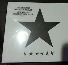 NEW-1st press CD  David Bowie  Blackstar LIMITED German BOX WITH Black Star Pin