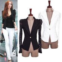 Women's Slim Suit Blazer Coat Lace Crochet Jacket Cardigan Blouse Outwear Blouse