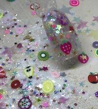 glitter mix acrylic gel nail art  FROOT LOOP SALAD
