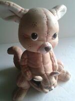 Ceramic Aussie Kangaroo and Joey Nursery Figurine Tan Pinkish Color 8x5 in.