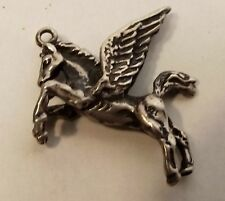 Vtg Sterling Silver Pegasus Charm Pendant Winged 3D Flying Horse Gallop