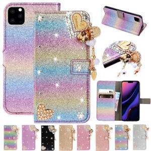 For iPhone 12 Pro SE 2020 XR 6s 7 8+ Lovely Diamond Glitter Leather Wallet Case