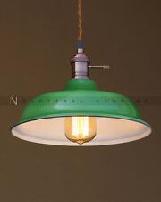 VINTAGE INDUSTRIAL ENAMEL GREEN PENDANT FACTORY LIGHT- Hanging Bar Light