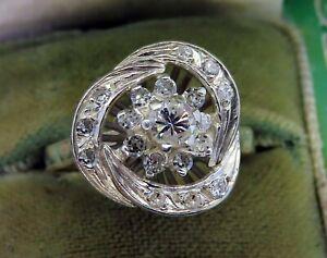 Vintage palladium ART DECO ANTIQUE DIAMOND WEDDING ENGAGEMENT COCKTAIL ring