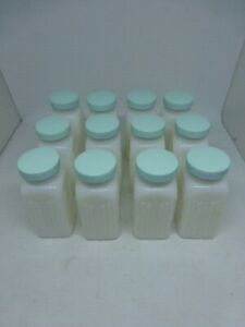 12 Vintage Griffith's Light Blue Green Lid White Milk Glass Spice Jars Art Deco