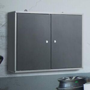 Wall Mounted 2-Door Tool Cabinet Garage Workshop Tool Storage Organizer with Key