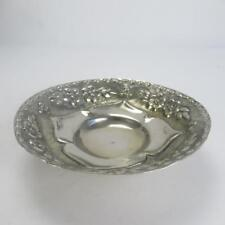 XEIPOE Greek Sterling Silver Round Bowl with Hammered Floral Pattern Design