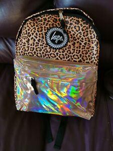 Hype Backpack Bag Leopard Print With Rose Gold Pocket