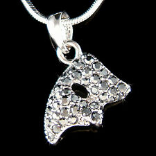 w Swarovski Crystal ~Black Phantom of the Opera~ Masquerade Mask Charm Necklace