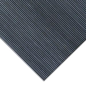 Ribbed Anti-Slip Mat 4 ft. x 15 ft. Non-Slip Backing Interlocking Rubber Black