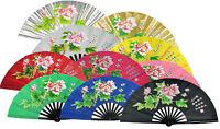 """13"""" Kung Fu Tai Chi Martial Arts Dance Show Training Equipment Bamboo Peony Fan"""