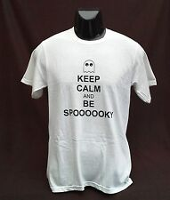 Halloween KEEP CALM AND BE SPOOKY T-Shirt Mens SMALL Funny and witty ghost