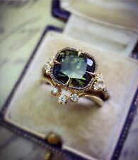 Women Fashion 925 Silver Rings Retro Jewelry Emerald Cushion Cut Ring Size 5-10