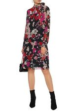 Mikael Aghal Pussy bow floral pleated fil coup chiffon dress NWT 4 $795.00