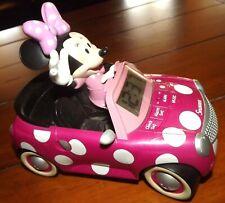 Disney Minnie Mouse Pink Car Singing Digital Alarm Clock Works great