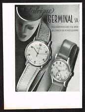 1940s Vintage 1947 Germinal Swiss Watch Print Ad