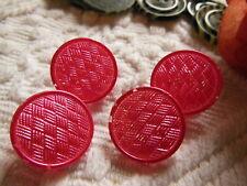 lot 4 boutons anciens en verre rose damas diamètre 1,8 cm  D12N