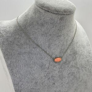 KENDRA SCOTT Designer Necklace Coral Colour Stone Silver Tone Chain SIGNED