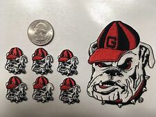 "6 University of Georgia Bulldog patch  Mascot (6 piece lot) 1"" tall heat seal"