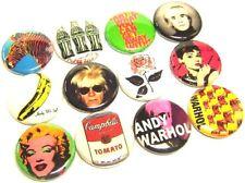 "12 ANDY WARHOL Buttons 1"" Badges Retro Modern Pop Art Artist One Inch Pins SOUP"