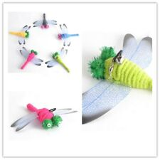 Pet Cat Teaser Wand Rod Chase Toys Replacement Refill Plush Dragonfly 5pcs