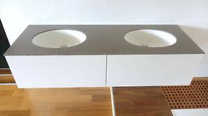 Doppelwaschtisch weiß B1505 x T505 x H360 mm Badmöbel mit zwei Waschbecken