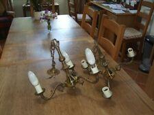 PAIR OF ORNATE BRASS 3 ARM CEILING LIGHT/CHANDELIER