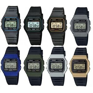 Casio F-91 Series Black Blue Green & Gold Vintage Retro Unisex Digital Watch