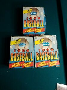 Lot of 3 1990 Fleer Baseball Wax Boxes 36 Packs each Griffey Jr. Nolan Ryan ++++
