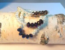 3 Pearl matching BRACELETS Trio. Stretchable with blue purple gold beads
