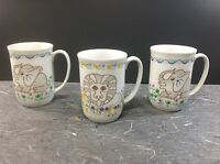 3PC Safari Mann 1976 Decorative Animal Porcelain Mugs