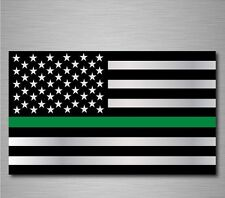 "Military Thin Green Line American Flag decal sticker graphic 3"" x 5"" BUY 2 GET 1"