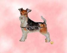 Wire Fox Terrier Peweter Bejeweled Enamel Dog Jewelry Trinket Box