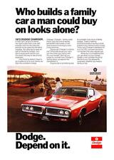 "1972 Dodge Charger Coupe photo ""Family-Sized Room"" vintage promo print ad"