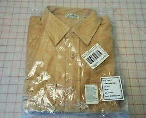 MEN'S L.L. BEAN BUTTON-DOWN CAMEL HEATHER SHIRT-SIZE: LARGE REGULAR