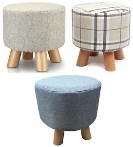 Quirky Shabby Chic padded Luxury Wooden Footstool Round Pouffe Stool wooden legs