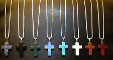 Real Gemstone Cross Pendant on 22 Inch 925 Sterling Silver Box Chain 1mm
