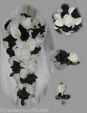 New Custom Black and White Wedding Bouquet, White and Black Bridal Bouquet