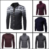 Winter Sweater Pullover Casual Knitted Knitwear Turtle Neck Mens Warm Jumper