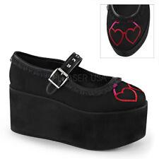 Demonia CLICK-02-1 Black Platform Mary Jane Heart Eyeglasses Embroidery Studs