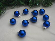 Miniature Small Balls Ornaments Blue Christmas Glass Satin, Feather Wire Tree