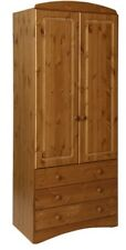 NJA Scandi 2 Door 3 Drawer Tall Wardrobe Antique Style Pine Bedroom Storage
