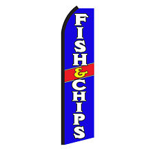 Fish and Chips Advertising Sign Swooper Feather Flutter Banner Flag Only